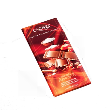 Cachet Premium Belgian Chocolate Bar - Milk Salted Butter and Caramel Chocolate Bar