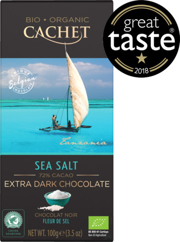 CACHET Extra Dark Chocolate with Sea Salt - Organic 72% Cocoa