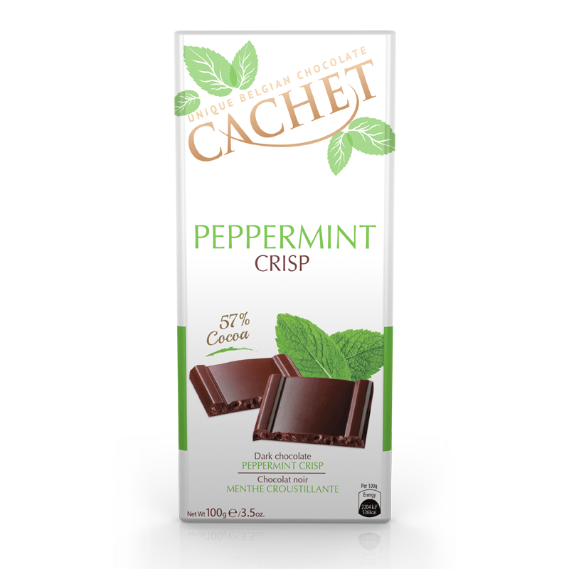 CACHET Dark Chocolate Peppermint Crisp - 57% Cocoa