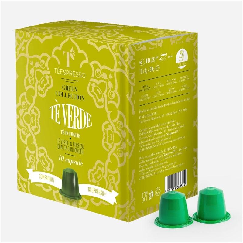 TEESPRESSO Gunpowder Green Tea Capsules - 10 Pods - Duplicate
