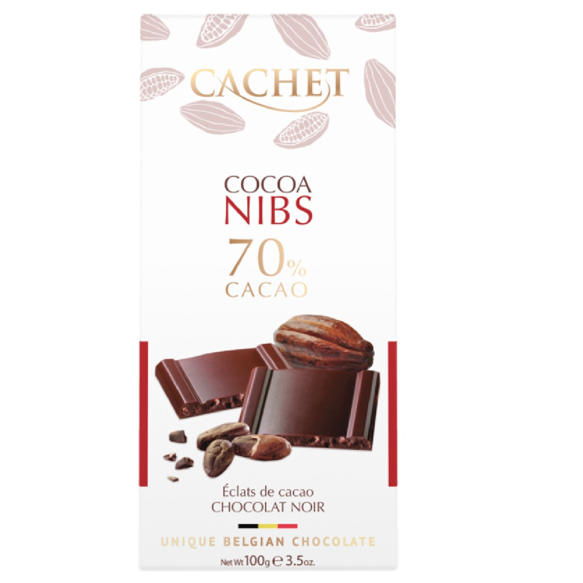 CACHET Dark Chocolate 70% Cocoa Nibs